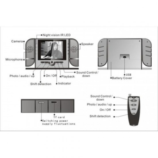 Dijital Ekranlı Masa Saati Kamera